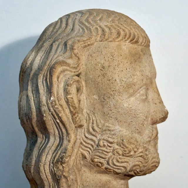 Vintage Medieval Limestone Bust For Sale - Image 9 of 10