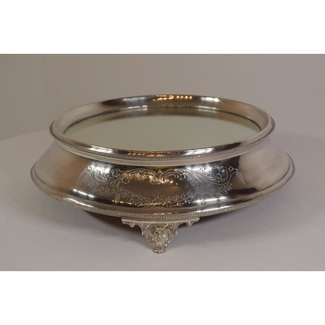 """Late 1900's English Silver Plate Engraved Mirror Plateau, or as they call them in England """"Cake Stand."""" Beading around the..."""