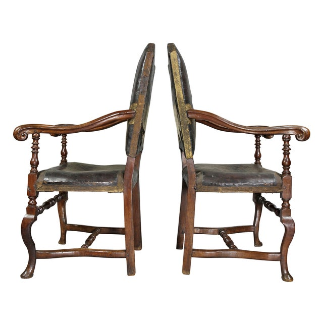 Italian Baroque Walnut Armchairs - a Pair For Sale - Image 9 of 11