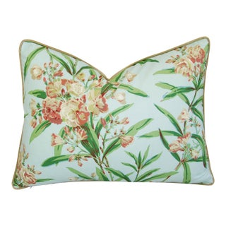 "Schumacher Oleander Blossom Feather/Down Pillow 24"" X 18"" For Sale"