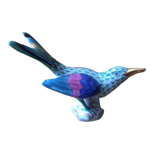 Contemporary Herend Blue & Magenta Colibri Bird Figurine For Sale