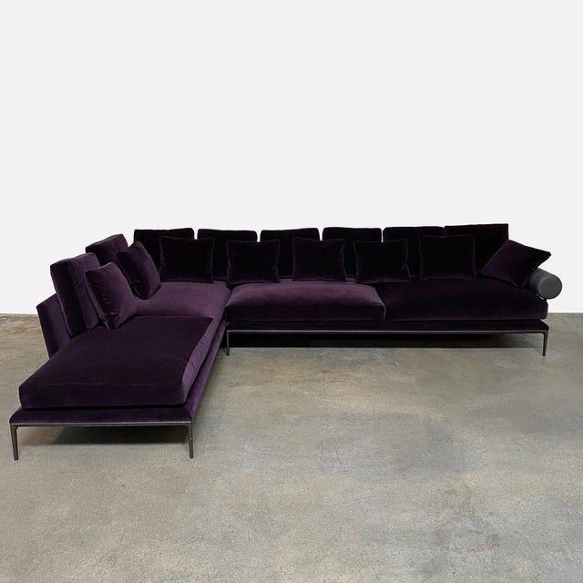 RETAIL VALUE: $28,487 B&B Italia 'Atoll' Sectional by Antonio Citterio, 2018 Rich, deep and luxurious in purple velvet,...