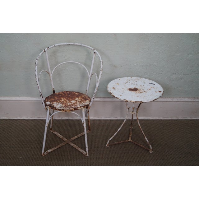 Antique French Iron Garden Table Set - Image 2 of 10
