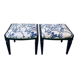 "Upholstered ""Hutch Print"" by Groundworks Stools - a Pair"