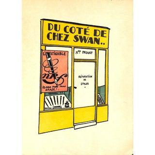 """Paris Storefront, French Lithograph, Du Cote De Chez Swann, Guilac 1925, Matted 11 X 14"""" For Sale"""