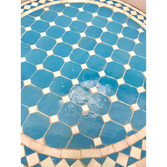 Moroccan Mosaic Outdoor Blue Tile Side Table on Low Iron Base For Sale - Image 12 of 13