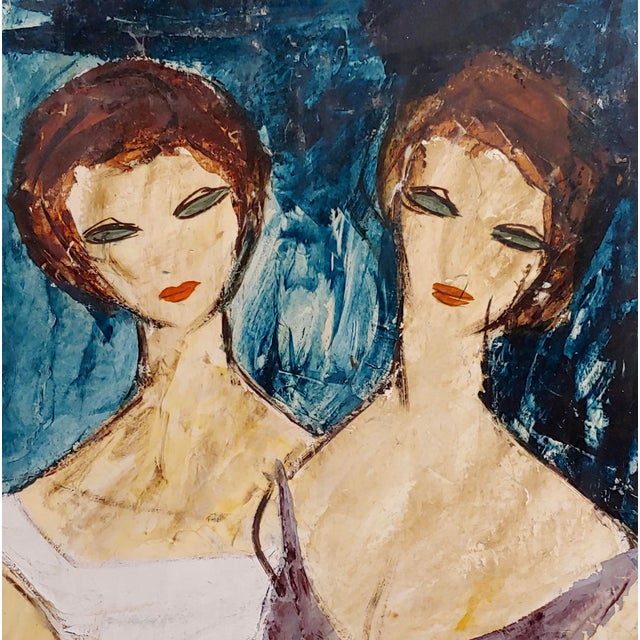 "1960s Charles Levier ""Two Girlfriends"" Oil Painting C.1960s For Sale - Image 5 of 9"