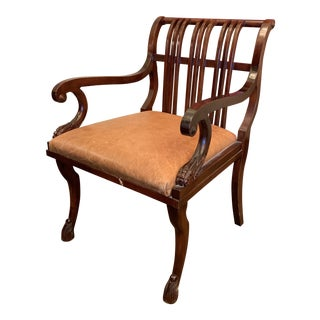 Modern Maitland-Smith Style Regency Leather Gentleman's Chair For Sale