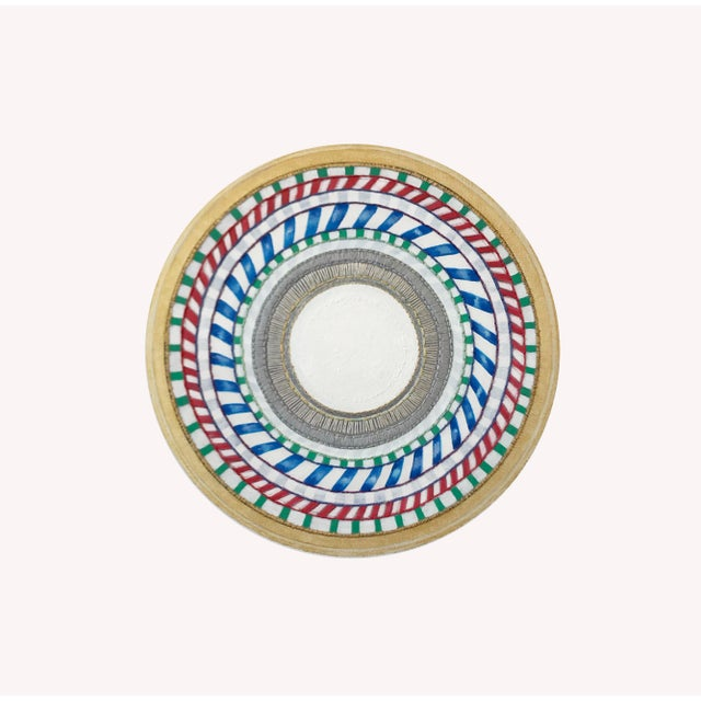 Natasha Mistry Embroidered Circular Oil Painting For Sale - Image 9 of 11