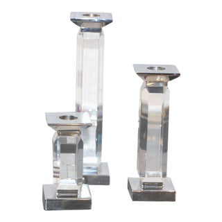 Trio of Staggered Height Candlestick in Lucite & Nickel by Charles Hollis Jones