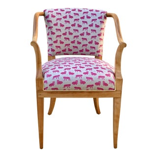 Mid Century Modern Pink Tiger Print Cotton Upholstered Desk Chair