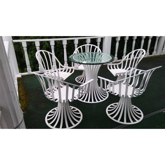 Russell Woodard Mid-Century Aluminum Table & 5 Chairs - Image 2 of 11