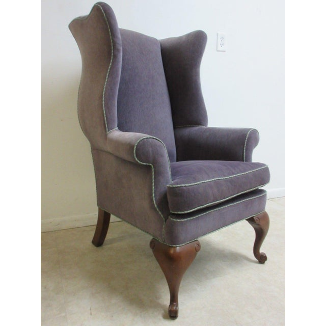 French Vintage Purple Wingback Chair For Sale - Image 3 of 11
