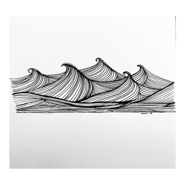 "Christy Almond ""The Waves of the Sea"" Contemporary Pen & Ink Drawing For Sale"