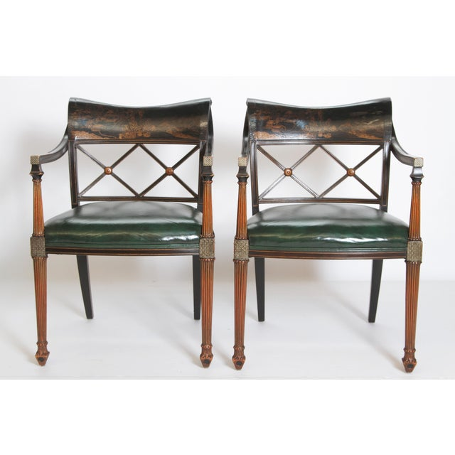 Pair of Regency Style Lacquer Arm Chairs For Sale In Dallas - Image 6 of 13