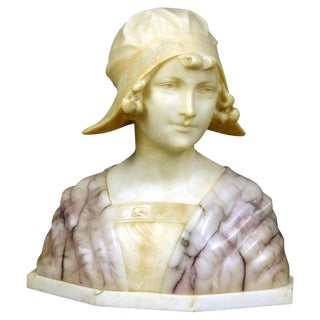 Late 19th Century Antique Italian Carved Alabaster Joan of Arc Bust For Sale