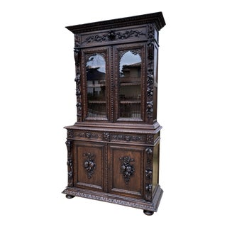 Antique French Black Forest Oak Bookcase/Display Cabinet For Sale