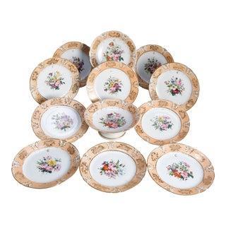 Handpainted Porcelain 12 Piece Dessert Set, 19th Century For Sale