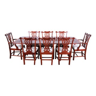 Chippendale Banded Mahogany Double Pedestal Dining Table With Eight Chairs - Set of 9 For Sale