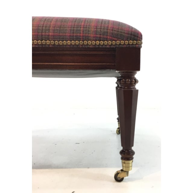 Stylish Traditional Hickory Chair Plaid Grant Ottoman, rich mahogany finished wood frame with elegant tapered legs on...