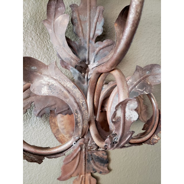 Vintage 1960s French Large Floral Sconces - a Pair For Sale - Image 11 of 13