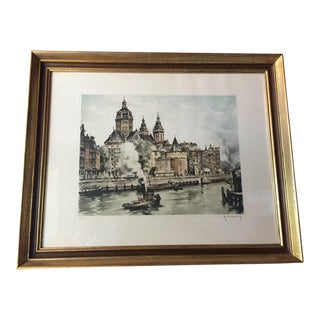 Original Etching of Amsterdam For Sale