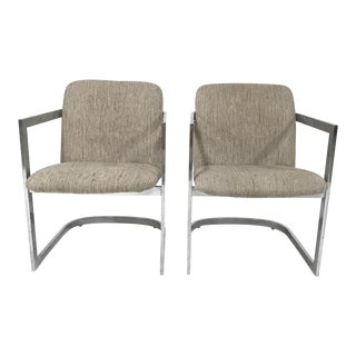 Chrome & Fabric Cantilevered Dining Chairs by Design Insitute of America - A Pair