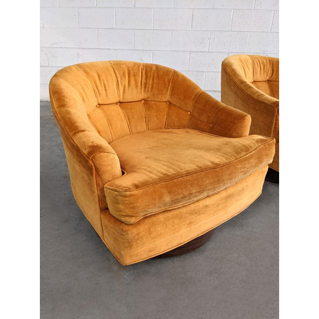 Wood Mid Century Modern Walnut Base Swivel Club Chairs - a Pair For Sale - Image 7 of 10
