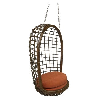 Mid Century Modern Woven Rattan Hanging Egg Chair For Sale