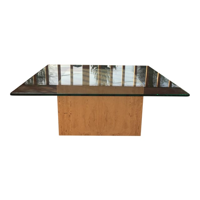Modern Cube Travertine & Glass Coffee Table - Image 1 of 11