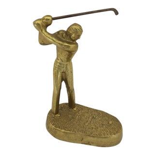 1970s Americana Brass Golfer Statue For Sale