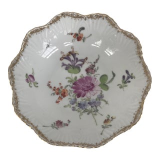 Antique English Candy Dish With Gilt Rim For Sale