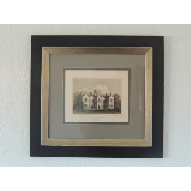 2000 - 2009 English Manors Engraving Reproduction in Black & White Framed #1 For Sale - Image 5 of 5