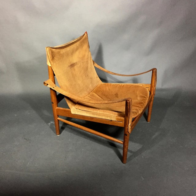 "1960s 1960s Scandinavian Modern Hans Olsen ""Antilop"" Suede and Oak Safari Chair For Sale - Image 5 of 12"