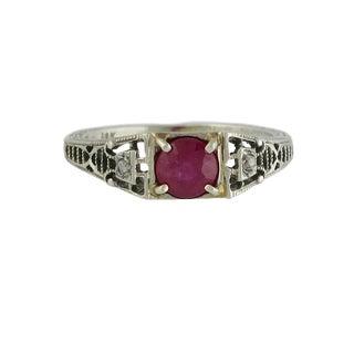 Edwardian 18k White Gold Ruby & Diamond Filigree Ring For Sale