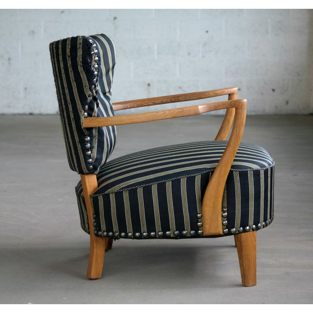 Art Deco Otto Schulz Style Lounge Chair in Oak With Brass Tacks Danish Midcentury For Sale - Image 3 of 11