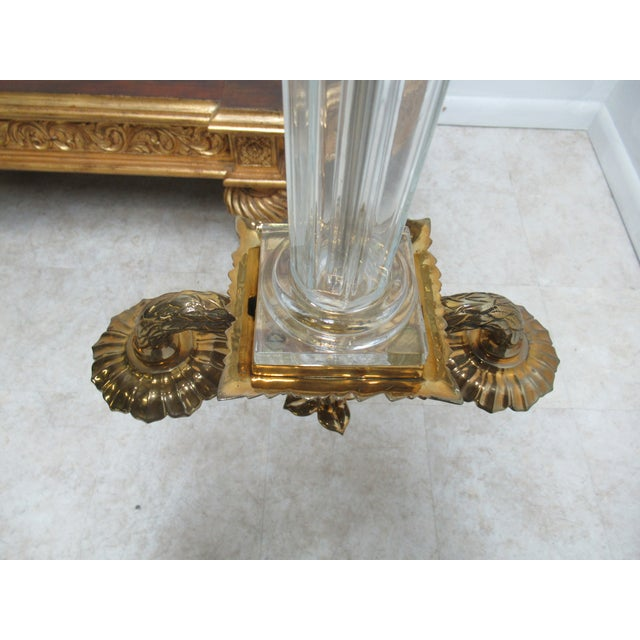 Metal Italian Regency Chapman Brass Glass Candelabras Candle Sticks - a Pair For Sale - Image 7 of 12