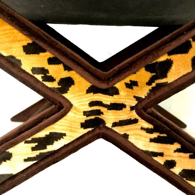 Textile Leopard & Brown Velvet Upholstered X Bench For Sale - Image 7 of 9