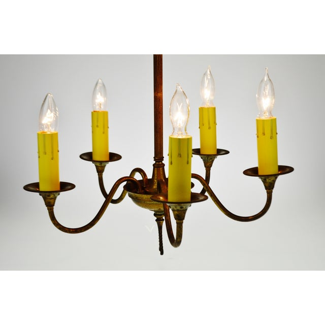 Traditional Antique Brass 5 Light Candle Chandelier Arrow Design For Sale - Image 3 of 13