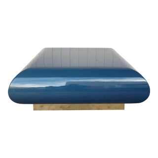 Karl Springer Inspired Cerulean Lacquered Fiberglass Coffee Table With Brass Plinth For Sale