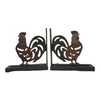 Cast Iron Rooster Bookends - a Pair For Sale