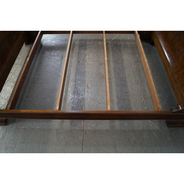 Traditional Henredon Charles X Queen Size Burl Wood Sleigh Bed For Sale - Image 3 of 10