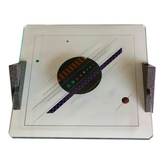 1980s Memphis Glass and Stone Geometric Shaped Tray For Sale