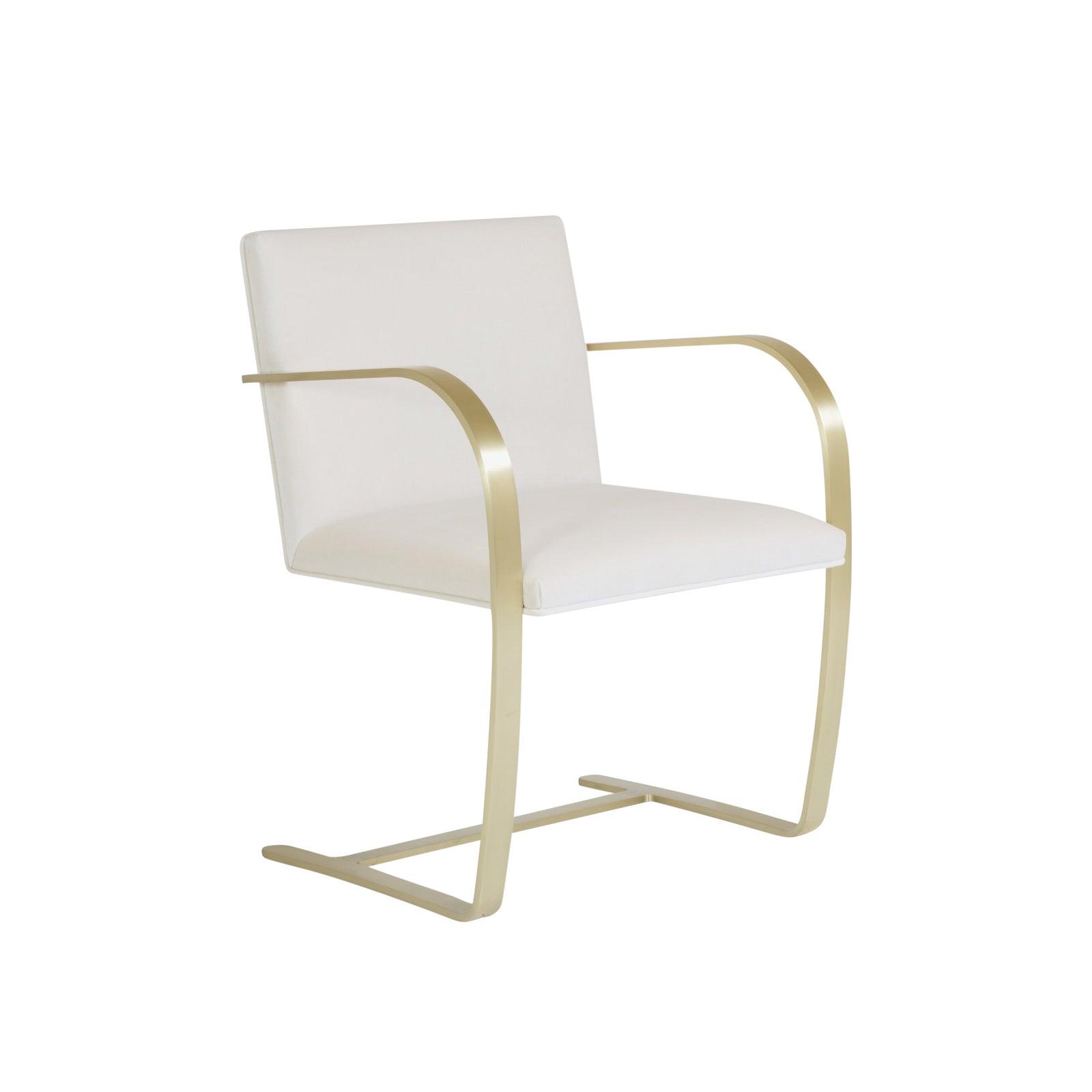 Brno Flat-Bar Chairs in Crème Velvet, Brushed Brass  Chairish