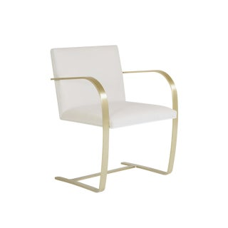 Brno Flat-Bar Chairs in Crème Velvet, Brushed Brass For Sale