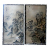 Image of Antique Late 19th C. Chinese Scroll Paintings - a Pair For Sale