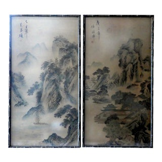 Antique Late 19th C. Chinese Scroll Paintings - a Pair For Sale