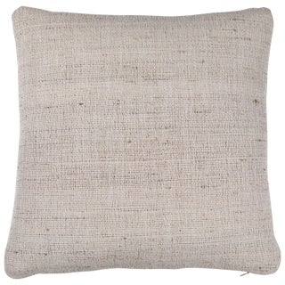 Indian Handwoven Tabby Ivory Pillow For Sale