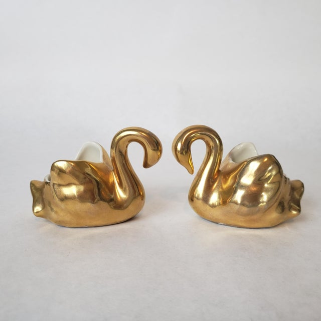Hollywood Regency Mid 20th Century Weeping Gold Swan Succulent Planters - Set of 3 For Sale - Image 3 of 10
