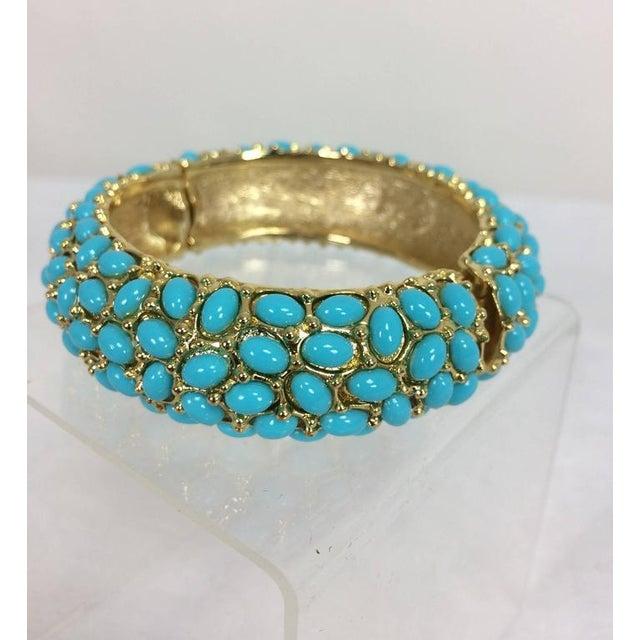 Mid-Century Modern Kenneth Lane Turquoise Cabochon Encrusted Gold Clamper Bracelet For Sale - Image 3 of 6